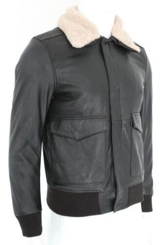 Pilot Air Force Leather Dark A2 Brown Jacket Bomber Fur Collar Men's Sheep Us 80gpxRqnzw