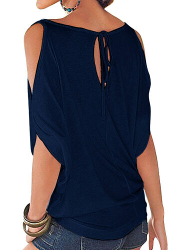 Women Off the Shoulder Tee Tops Summer Casual Loose T-shirt Solid Blouse Fashion