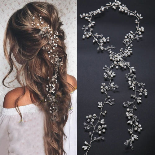 Wedding Hair Vine Bridal Crystal Pearl Headband Long Chain Headpiece Accessories