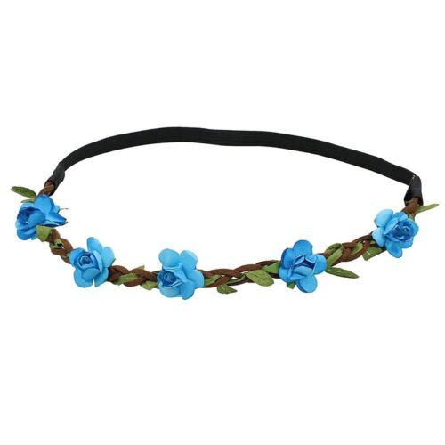 Dame Blumen Haarband Stirnband Festival Party Hochzeit blau M7N9
