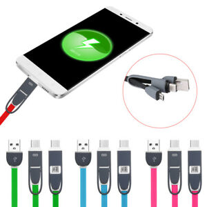 Smartphone-2-In-1-Charging-Cord-Type-C-Wire-Data-Sync-Cable-Micro-USB-Data-Line