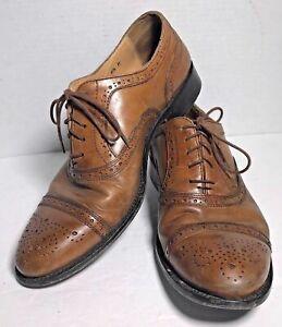 41965592b405a Details about Vintage MERCANTI FIORENTINI Men's Brown Leather Oxfords CAP  TOE Size 8.5 M