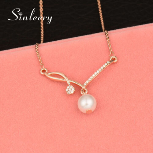 Elegant Pearl Pendant Necklace For Women Wedding Jewelry 18K Rose Gold XL538