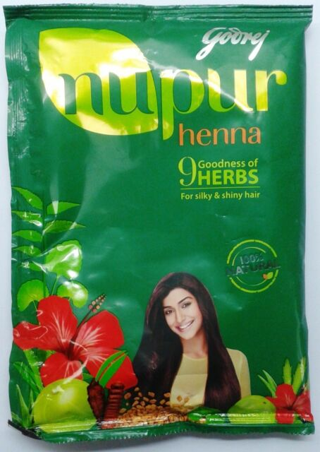 2 X 120g Godrej NUPUR HENNA  with 9 HERBS Natural Hair Dye Color & Conditioning