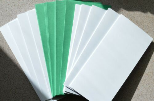 10 Blanc Lisse Carte Blanks 210 mm x 100 mm /& Green Envs New