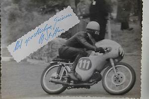 27531 Moto Rennen Foto Autografo Walter Steffan Svizzera 1962 Bici Photo