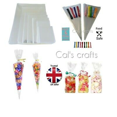 Large Party Bags Cello Cone Bags Sweet Bags Gifts 9 Colours To Choose From