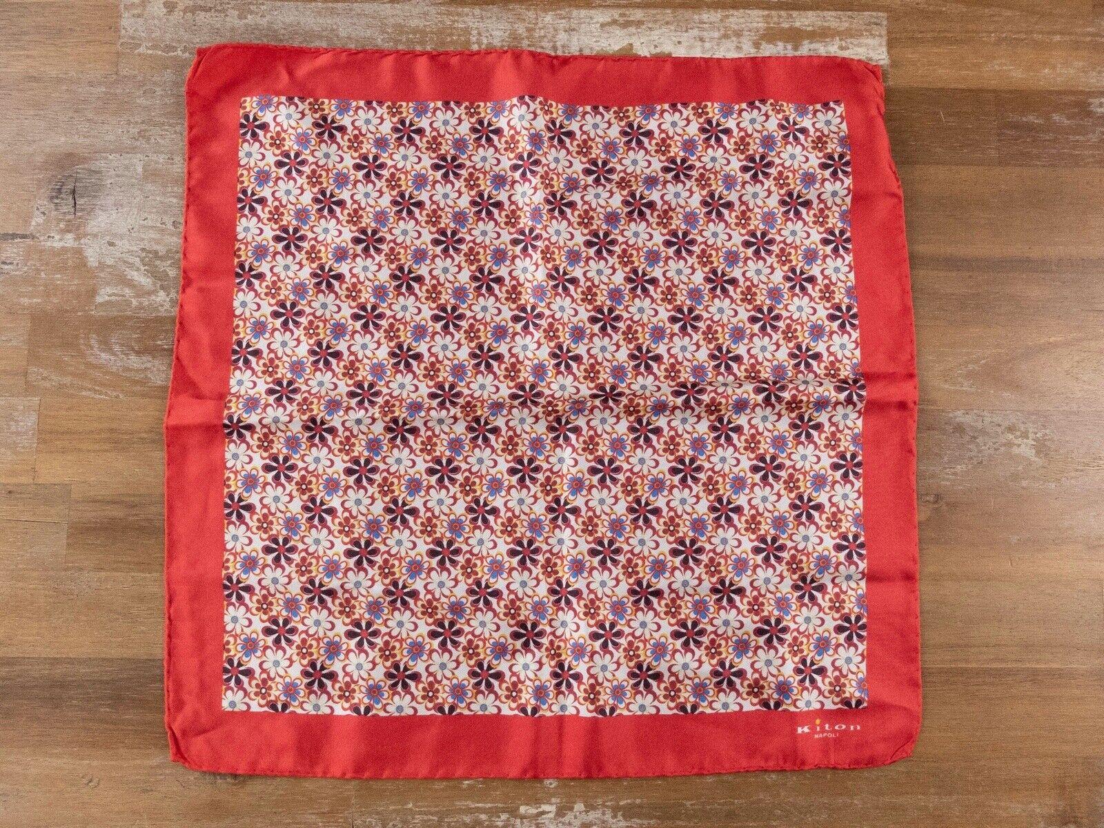 KITON Napoli red floral motif silk pocket square authentic - NWT