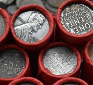 WWII-Steel-Cent-On-Lincoln-Wheat-Penny-Rolls-Estate-Sale-US-Mint-Coins-Pennies
