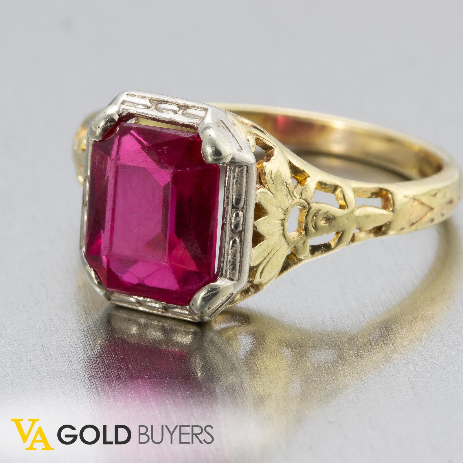 1910s Vintage Estate Edwardian 14k Filigree Created Ruby Ring FREE SHIPPING