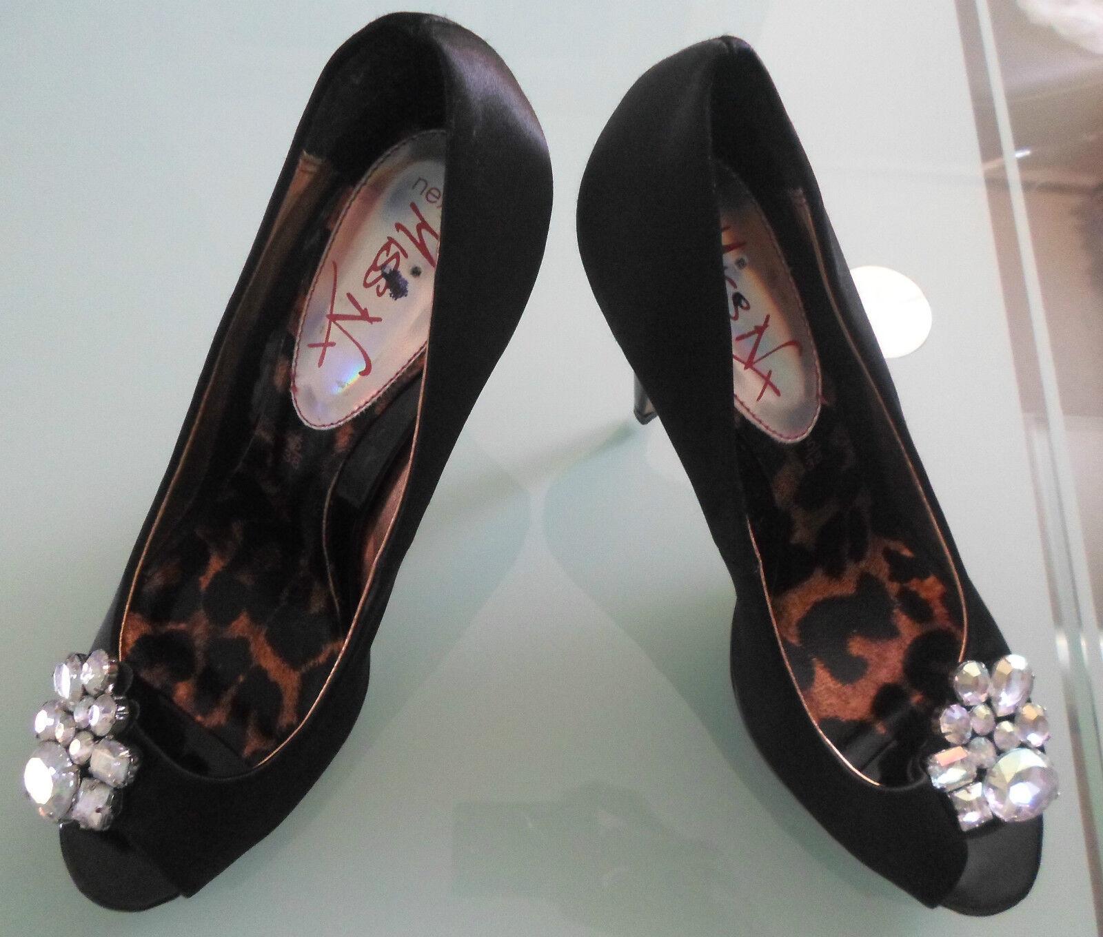 Next Size Miss NX Women Size Next 5 Black Peep-toe Shoes 3dcb7d