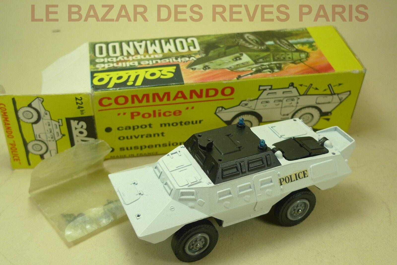 SOLIDO FRANCE.  Véhicule blindé  Commando Police   + Boite.  REF  224 BIS