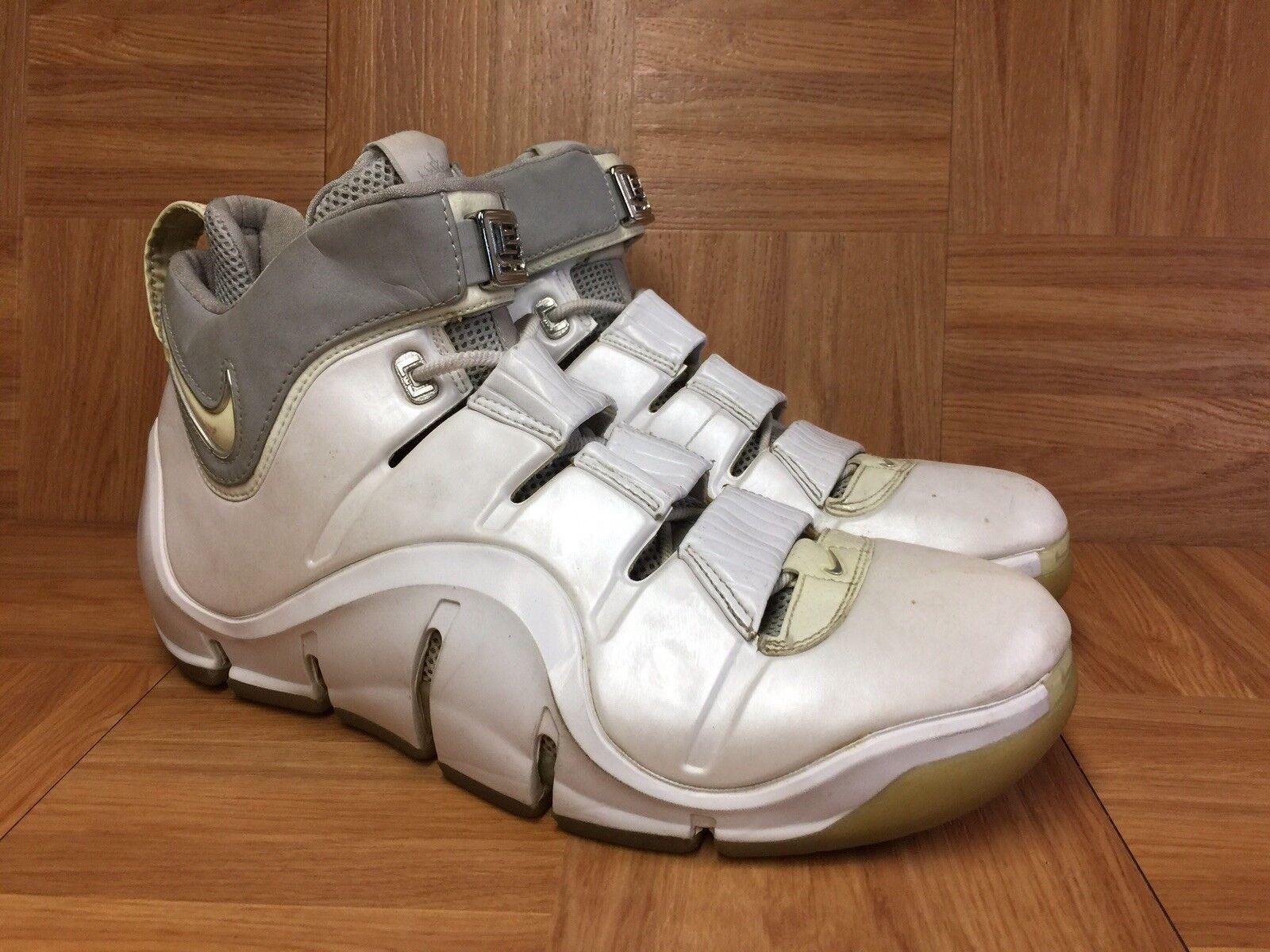 VNTG Nike Zoom LeBron 4 IV White Reflective Silver Chrome Sz 11.5 314647-112
