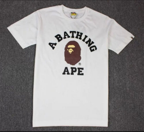 Mens BAPE A BATHING APE T-shirt Crew Neck Monkey Head Tee Short Sleeve Tops