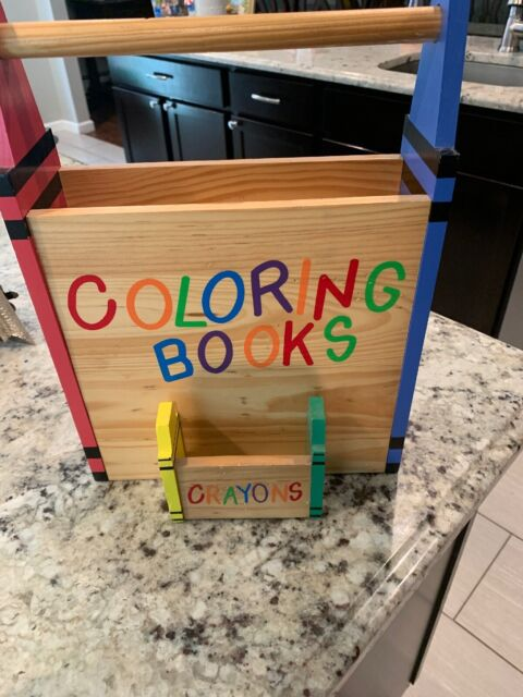 Crayon And Coloring Book Wood Caddy Organizer Holder