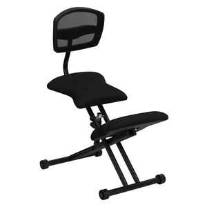 flash furniture ergonomic kneeling chair with black mesh back and