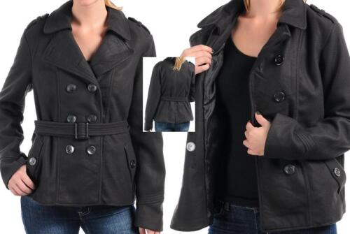 NWT Womens Misses Juniors CHARCOAL GRAY Belted Hip Length Pea Coat Jacket S M L
