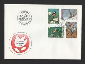 LUXEMBOURG-1994-FDC-Illustrated-cover-with-semi-postal-set-Birds