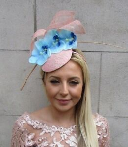 3573ed9e6bf Blush Nude Pink Light Blue Orchid Flower Feather Hat Hair Fascinator ...