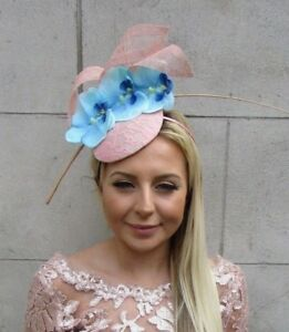Blush Nude Pink Light Blue Orchid Flower Feather Hat Hair Fascinator ... e227db84206