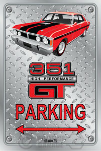 Parking-Sign-Metal-Ford-XY-GT-351-Track-Red