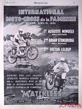 1952 Motor Cycle ADVERT - Matchless Belgium Moto Cross Photo AD Auguste Mingels