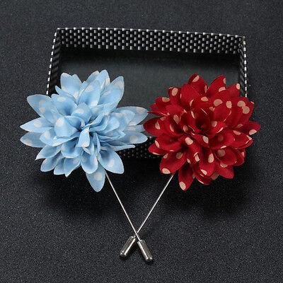 Lapel Pins Flower Daisy Handmade Boutonniere Stick Brooch Pin Suit Wedding EV