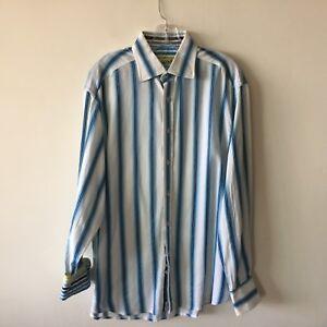 Robert-Graham-XL-Striped-Shirt-Flip-Cuff-Long-Sleeve-Men-039-s-Extra-Large