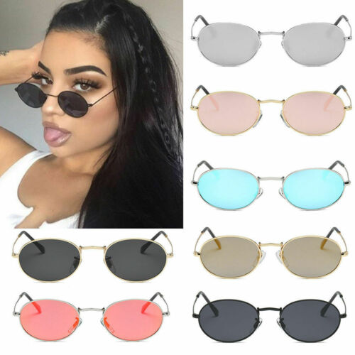 Women Men Hippie Fashion Vintage Oval Sunglasses Small Slim Lens Sun Glasses