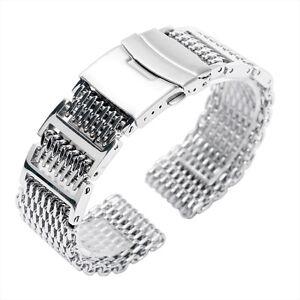 20-22-24mm-Shark-Mesh-Stainless-Steel-Men-Silver-Bracelet-Solid-Watch-Band-Strap