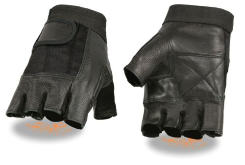 Milwaukee Leather Men's Leather /& Mesh Fingerless Glove w// Padded Palm SH217