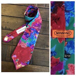 Vintage-1980s-MISSONI-Cravatte-Silk-Necktie-Bold-Abstract-Floral-Tie-Oak-Hall