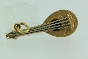 VINTAGE 18K GOLD 3D MANDOLIN MUSIC CHARM PENDANT 18ct YELLOW GOLD INSTRUMENT