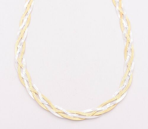 Fox Tail Woven Braided Necklace Real 14K Yellow White Gold Clad Silver 925