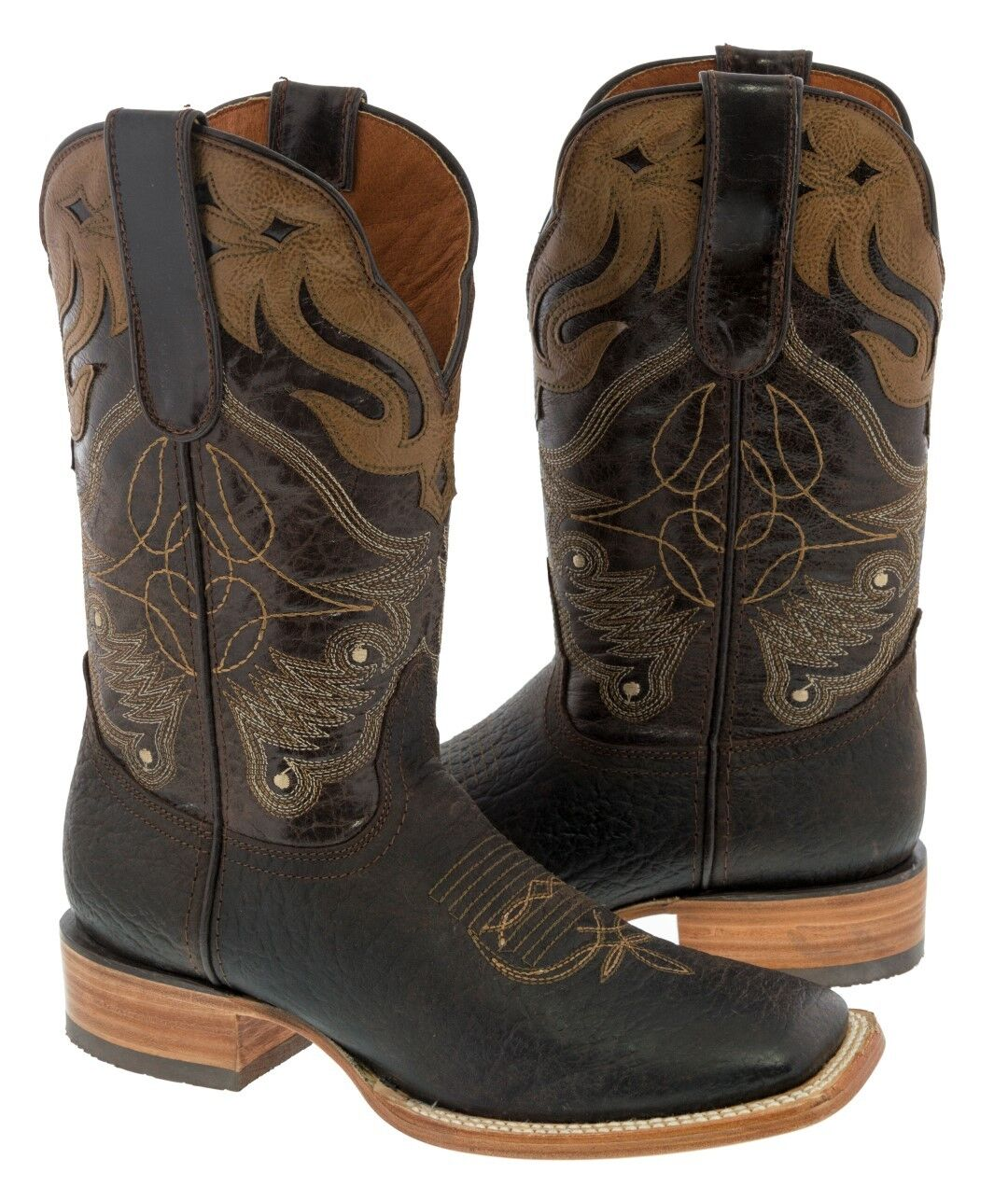 Mens Brown Design Light Overlay Genuine Leather Cowboy Boots Rodeo Square Toe