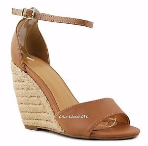e1b15976ab9 Details about Women Tall High Heels Espadrille Wedge Ankle Strap Summer  Sandals Open Toe Shoes