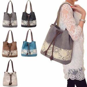 Women Retro Canvas Handbag Large Messenger Casual Travel Purse Tote Shoulder Bag