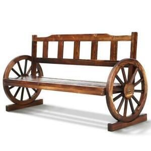 Gardeon Wooden Wagon Garden Bench 3 Seat Outdoor Chair Lounge Patio Furniture - Brown