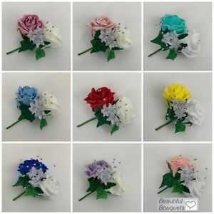 Image Is Loading Double Onholes Corsage Wedding Flower Bouquets Ivory Pink