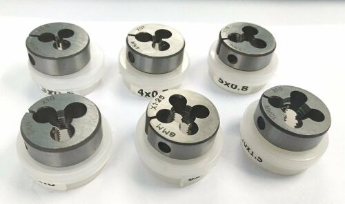 "Set of 6 Alloy Steel Hard Dies Metric thread M3 to M10 to suit 1/"" OD Die Holder"