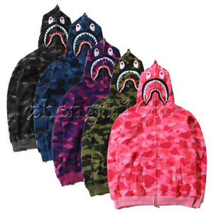 Hot-Bathing-Ape-Bape-Shark-Jaw-Camo-Full-Zipper-Hoodie-Men-039-s-Sweats-Coat-Jacket
