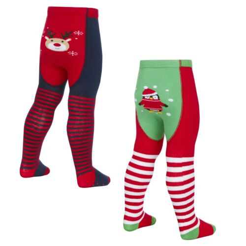 Babies Novelty Christmas Patch Panel Tights ~ Penguin Reindeer ~ 0-24 Months
