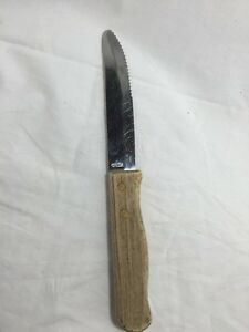 Steak-Knife-5-034-Blade-With-Rounded-Tip-1-034-Width-Wood-Handle-Aged