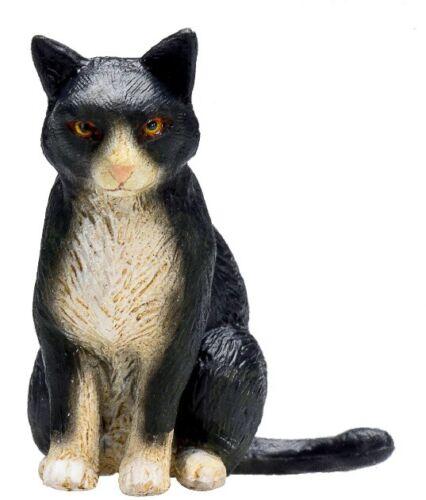 Mojo 387371 Gato Sentado Negro-Blanco 4cm Animales de Granja