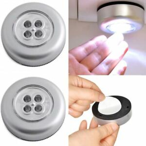 4-LED-Touch-Push-Button-Light-Self-Stick-ECO-Long-Battery-Life-Down-Spot-Lights