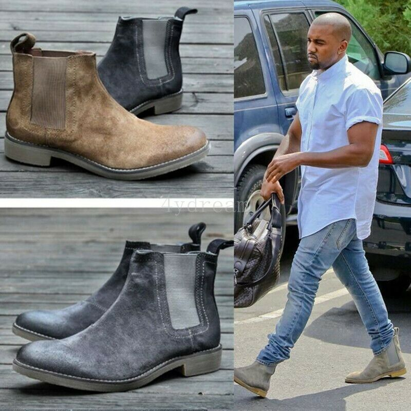 Mens High Top Round Toe Vintage British Riding Chelsea Suede Ankle Boots Slip On