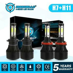IRONWALLS-LED-Headlight-Bulbs-Kit-H11-H7-High-Low-Beam-Super-Bright-6500K-White