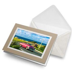 Greetings-Card-Biege-Retro-Pink-Car-Havana-Cuba-Travel-Vintage-24110