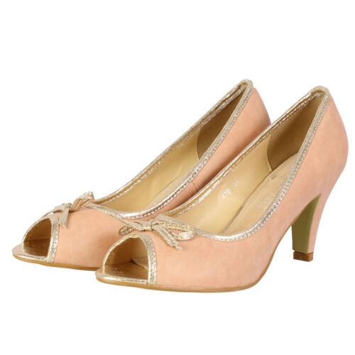 Women/'s Low Mid Court Shoes Ladies Formal Kitten Heels Office Ballet Girls Pumps