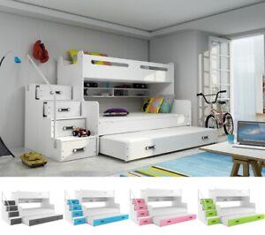 Details zu Hochbett Etagenbett Jugendbett Doppelstockbett ROXY 2 Matratzen  Schubladen Regal